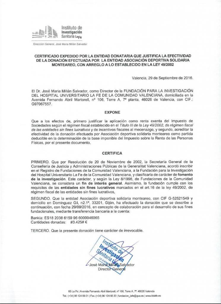 Certificado Donacion LA FE MonteAreo 2016